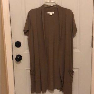 August silk short sleeve cardigan